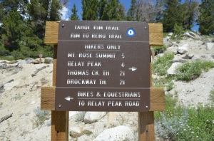 Mt. Rose Trailhead sign